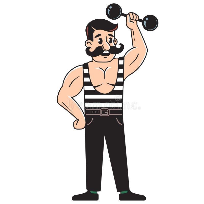 M?ski bodybuilder podnosi dumbbell bawi? si? sporty podno?nego m??czyzna mi??niowy wektorowy ci??ar Kreskowy rysunek na Bia?ym tl ilustracji