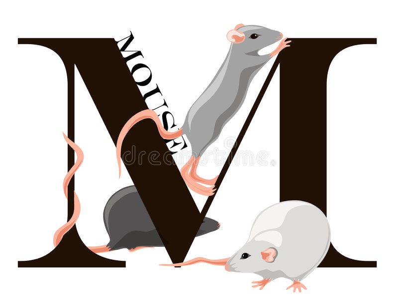 M (souris) illustration stock