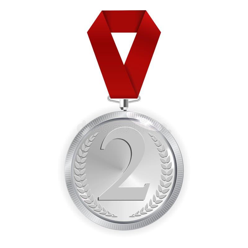 M?stare Art Silver Medal med det isolerade r?da st?llet f?r bandsymbolstecken i andra hand p? genomskinlig bakgrund ocks? vektor  vektor illustrationer
