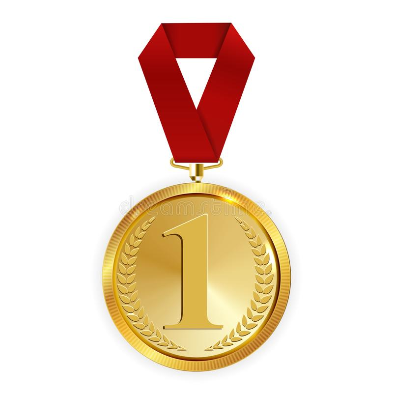 M?staren Art Golden Medal med r?tt band l symbolstecken f?rl?gger f?rst isolerat p? genomskinlig bakgrund vektor stock illustrationer