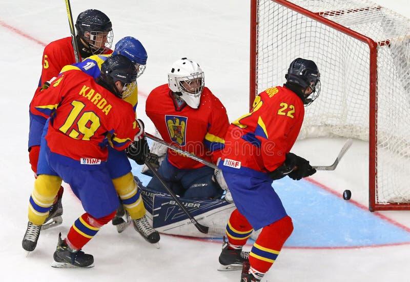 M?sterskap 2018 f?r v?rld f?r IIHF-ishockey U18 Div 1B royaltyfria foton