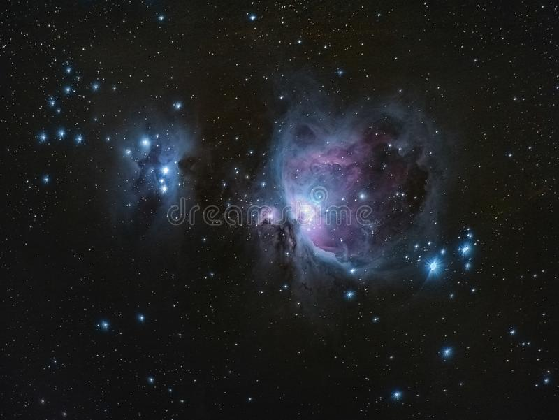 M42 stora Orion Nebula Running Man Nebula arkivbild