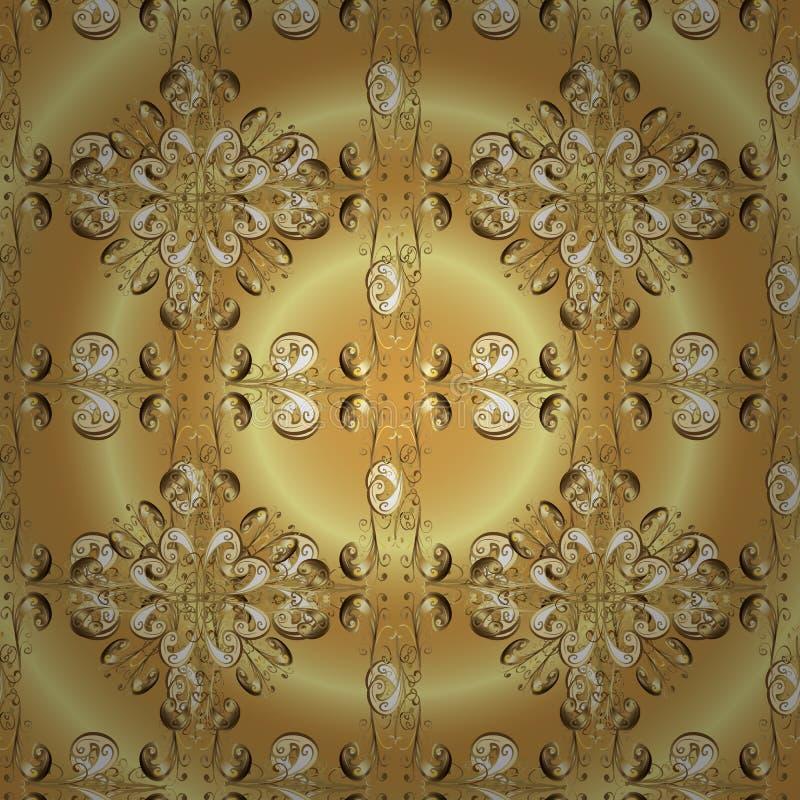M?tal d'or avec le mod?le floral illustration stock