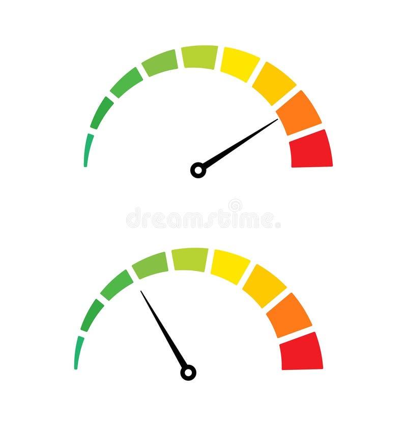 M?tt f?r internet f?r hastighetsprov Den snabba hastighetsm?taresymbolen laddar upp nedladdningv?rdering Snabb j?mn takometer att vektor illustrationer