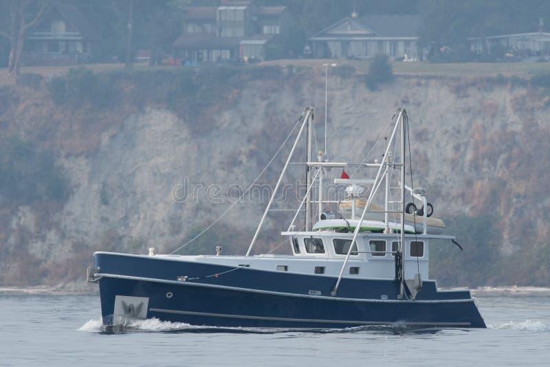 M/V Deja` Bleu underway on Puget Sound. M/V Deja` Bleu transiting Shilshole Bay on the way to the Ballard Locks stock photos