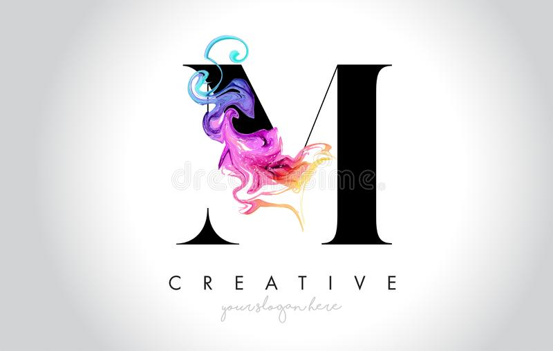M Vibrant Creative Leter Logo Design with Colorful Smoke Ink Flo. Wing Vector Illustration vector illustration