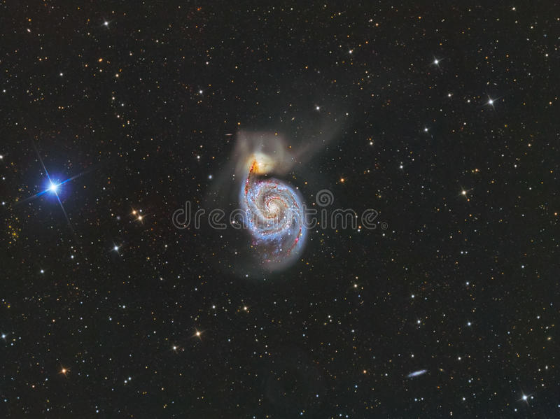 M51 Whirlpool Galaxy. Astrology astronomy cluster comet constellation cosmos galaxy l royalty free stock images