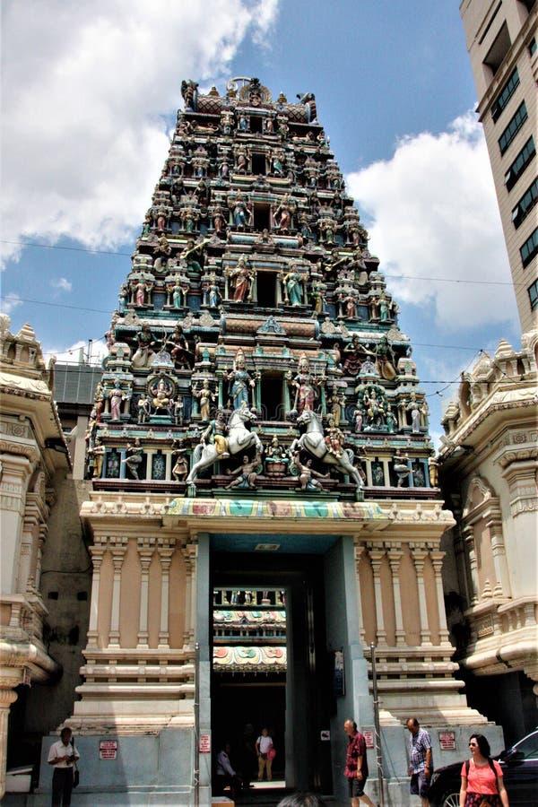23m wysoki gopuram Sri Mahamariamman, stara Hinduskiej świątyni świątynia zdjęcie royalty free