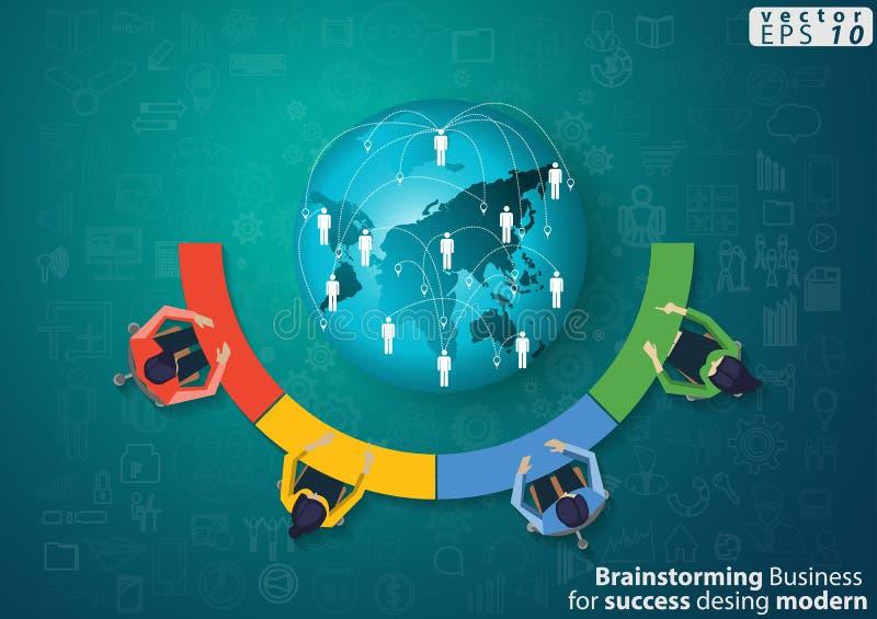 M?zg Biznesowy Brainstorming dla sukcesu nowo?ytnego projekta poj?cia i pomys?u Infographic Wektorowego ilustracyjnego szablonu z ilustracji