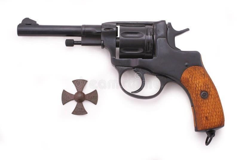 m1895 nagant左轮手枪俄语 库存图片