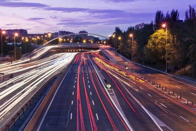 M30 Street Traffic Trail Lights In Madrid Stock Photos