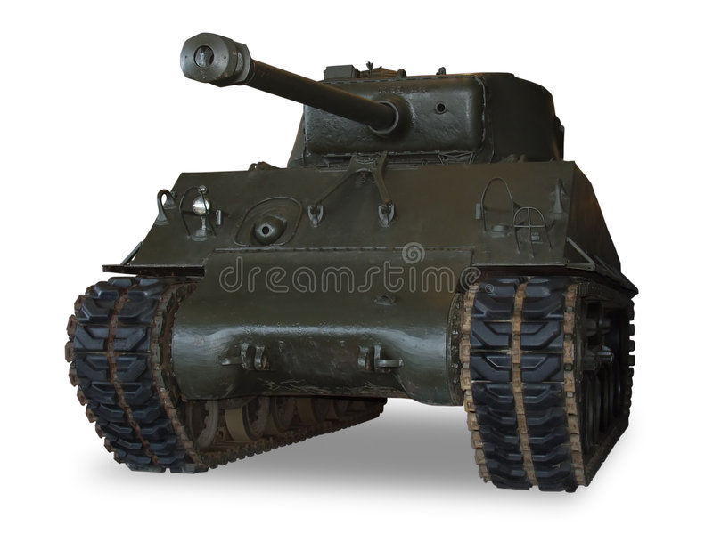 M4 Sherman Tank on White. An American M4 Sherman main battle tank from WWII. (This JPEG file includes a clipping path to isolate the tank and remove the shadow stock images