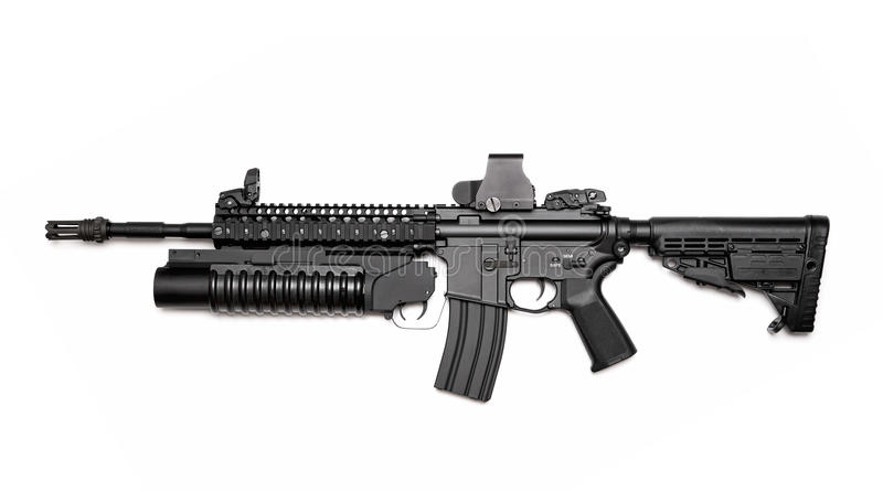 M4A1 assault rifle with grenade launcher. US Spec Ops M4A1 assault rifle with RIS/RAS, grenade launcher and tactical holographic sight. Isolated on a white stock photo