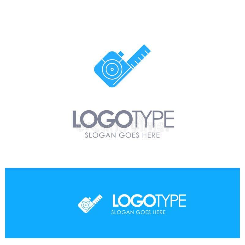 Maß, messend, Band, Werkzeug-blaues festes Logo mit Platz für Tagline lizenzfreie abbildung