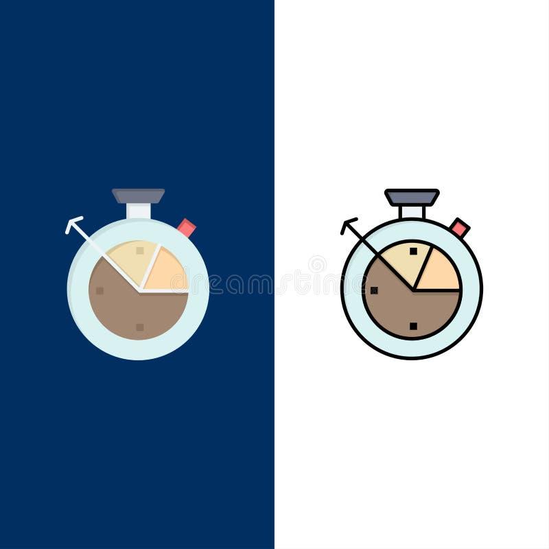 Maß, Zeit, Uhr, Daten-Wissenschafts-Ikonen Ebene und Linie gefüllte Ikone stellten Vektor-blauen Hintergrund ein lizenzfreie abbildung