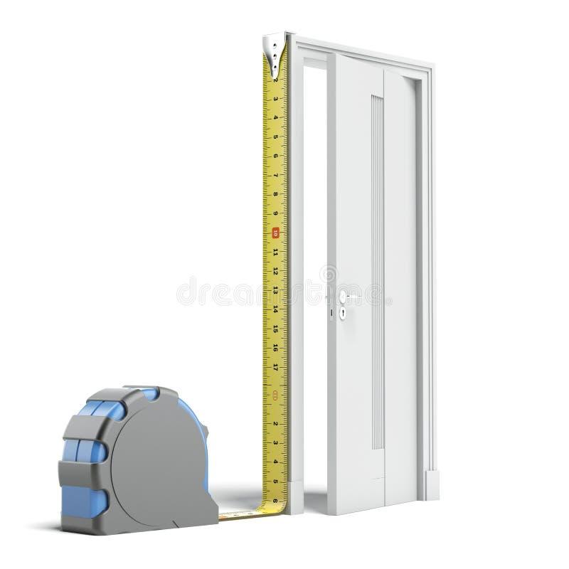 Maßband und Tür lizenzfreie abbildung
