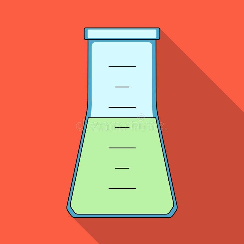 Maßflasche mit Flüssigkeit Einzelne Ikone der Medizin im schwarzen Artvektorsymbolvorrat-Illustrationsnetz stock abbildung