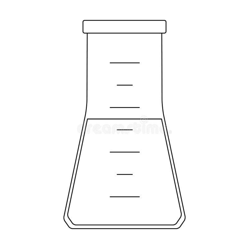 Maßflasche mit Flüssigkeit Einzelne Ikone der Medizin im schwarzen Artvektorsymbolvorrat-Illustrationsnetz vektor abbildung