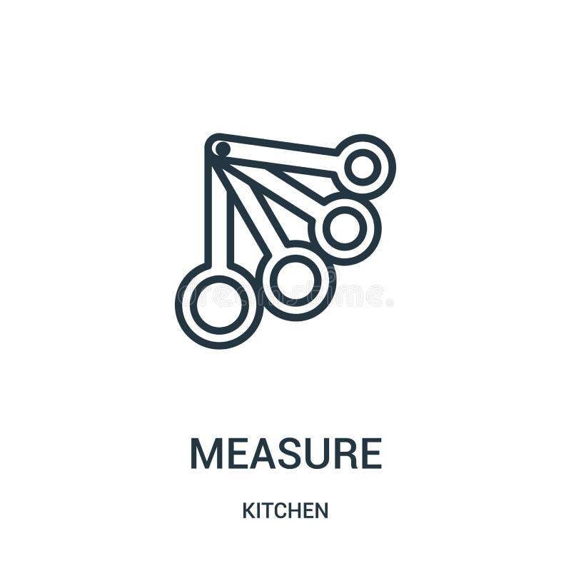 Maßikonenvektor von der Küchensammlung D?nne Satzbreite Entwurfsikonenvektor-Illustration lizenzfreie abbildung