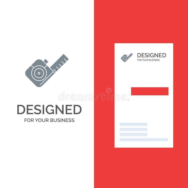Maßnahme, Messen, Band, Werkzeug Grey Logo Design und Visitenkarte-Schablone vektor abbildung