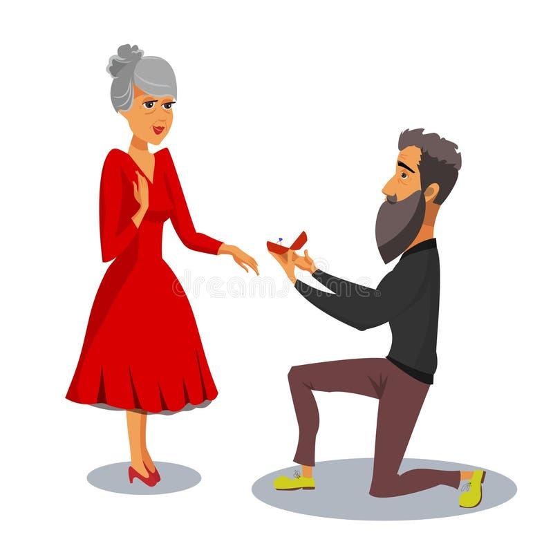 Małżeństwo propozycji projekta Odizolowywający Wektorowy element ilustracji