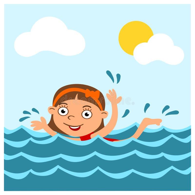 Mała śmieszna dziewczyna w kreskówka stylu pływa w morzu w lecie obrazy stock
