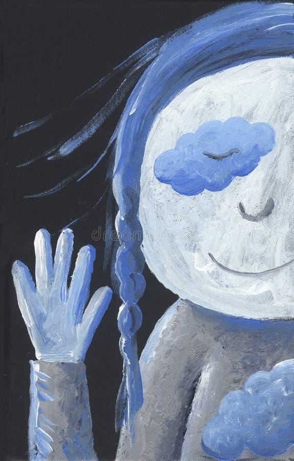 Mała Błękitna dziewczyna mówi artystycznego cześć - ilustracja wektor