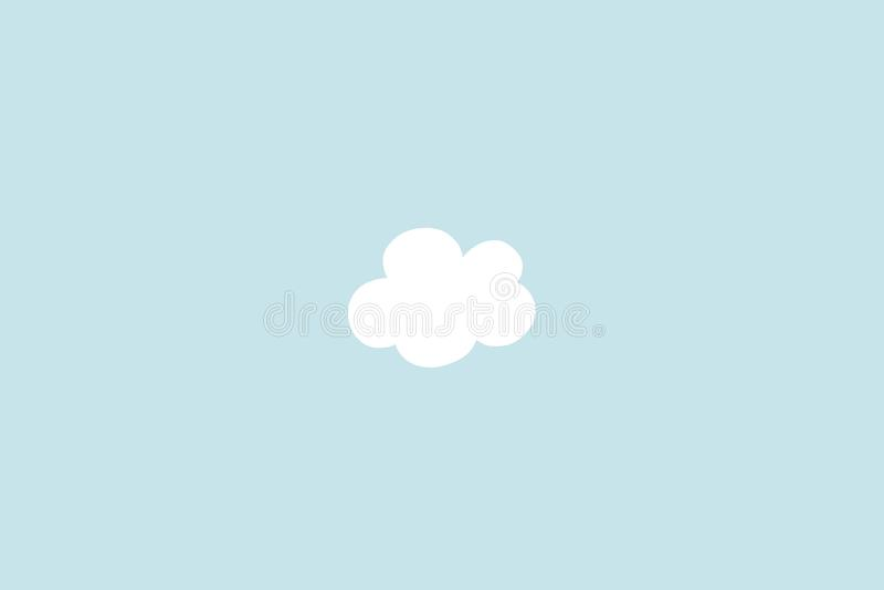 Mała biel chmura z cyan pastelowym tłem Abstrakcjonistyczny minimalizm Farby kreskówki styl zdjęcie royalty free