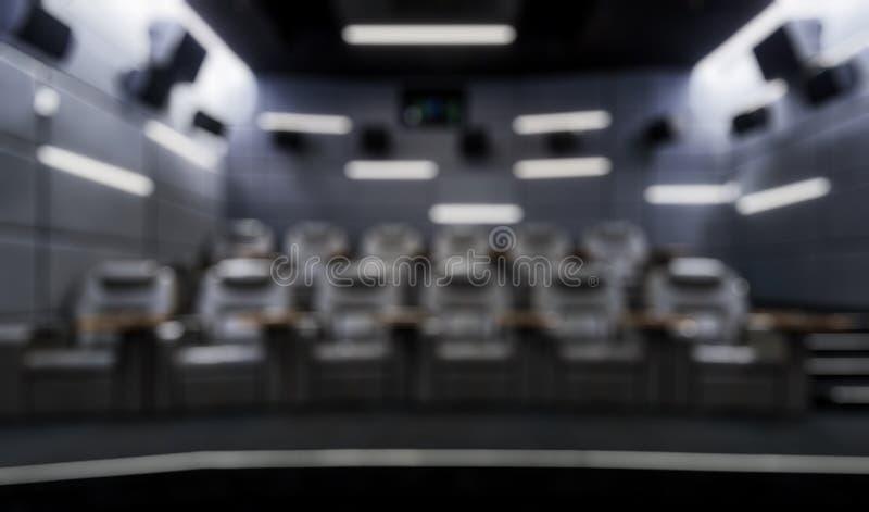 Mała pusta kinowa sala jako kreatywnie abstrakcjonistyczny plamy tło zdjęcia royalty free