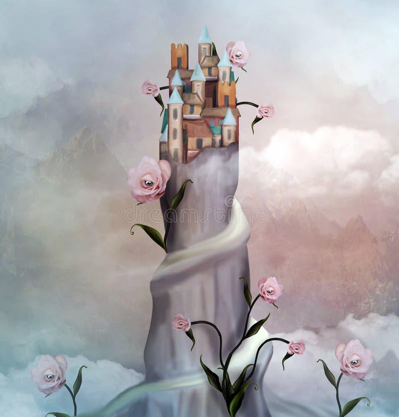 Mała wioska nad górą z surrealistycznymi różami royalty ilustracja