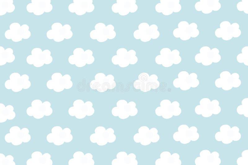 Małe białe chmury z cyan pastelem deseniują tło Abstrakcjonistyczny bezszwowy minimalizm Farby kreskówki styl zdjęcie stock