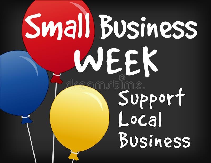 Małego Biznesu tygodnia Kredowej deski znak, balony ilustracji