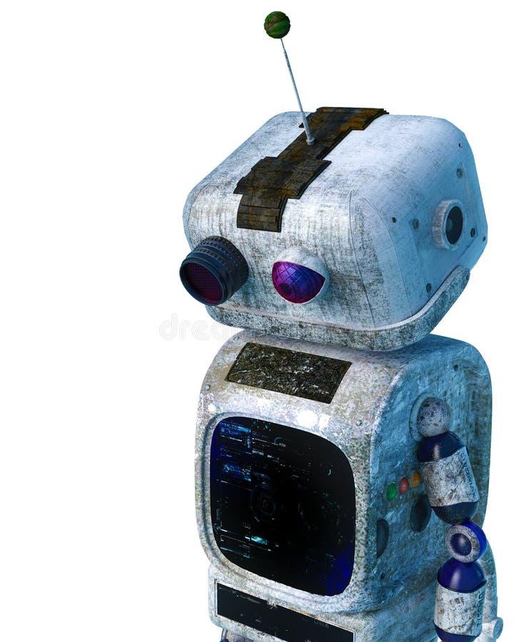 Mały brudu robot w białym tle ilustracja wektor