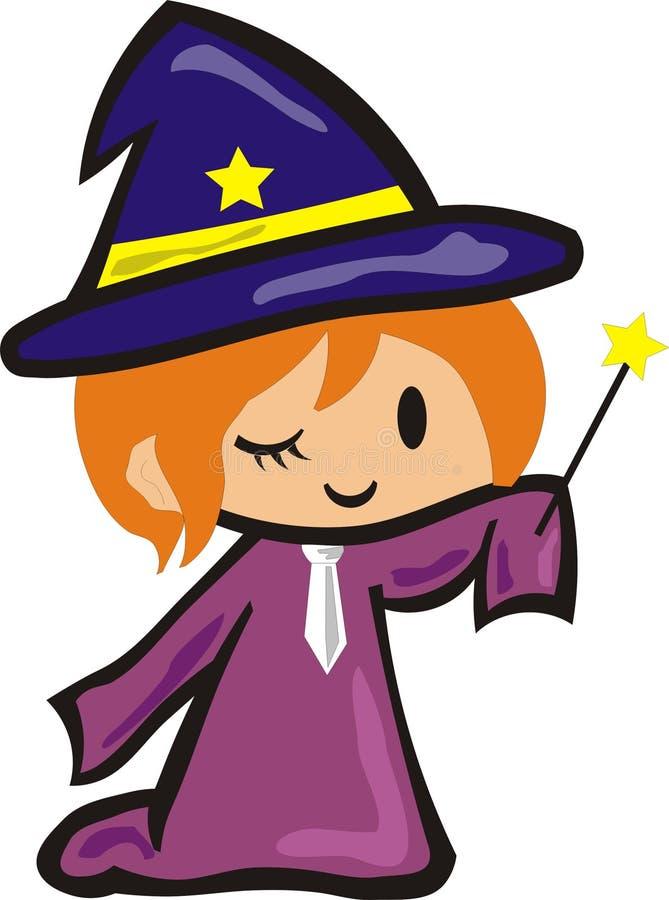 Mały czarownik w błękitnym kapeluszu royalty ilustracja
