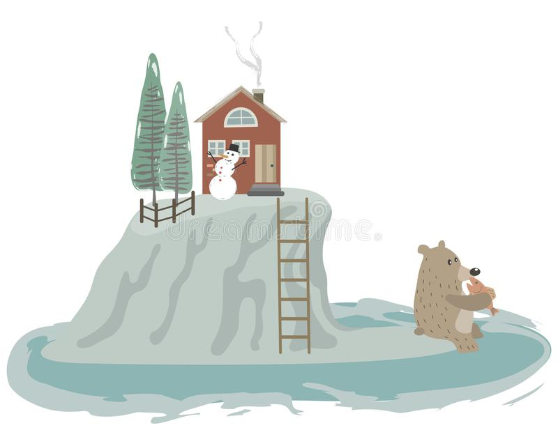 Mały dom na górze lodowej royalty ilustracja