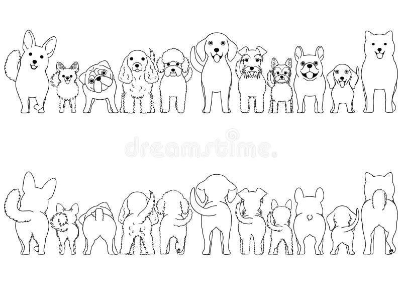 Mały pies kreskowej sztuki granicy set royalty ilustracja