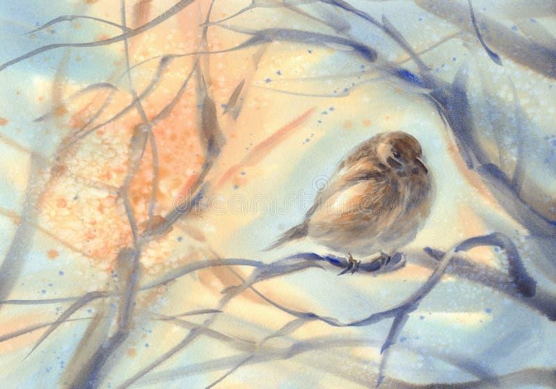 Mały ptasi wróbel na gałęziastym akwareli tle ilustracji