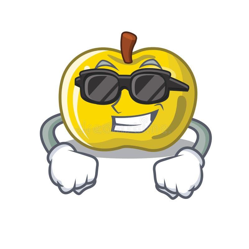 Maçã amarela fresca super na forma de caráter ilustração stock