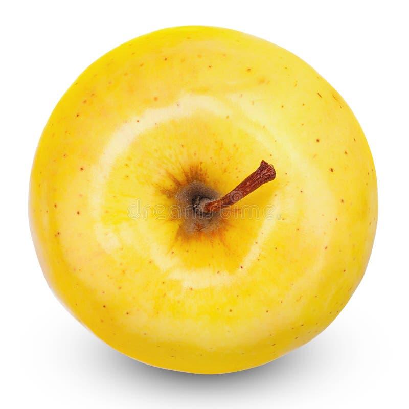 Maçã amarela madura isolada no branco Com trajeto de grampeamento foto de stock royalty free