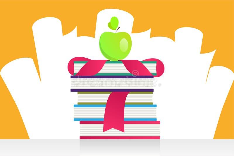 Maçã da graduação e ilustração do vetor dos livros ilustração stock
