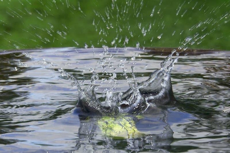 Maçã de queda na água com um respingo foto de stock