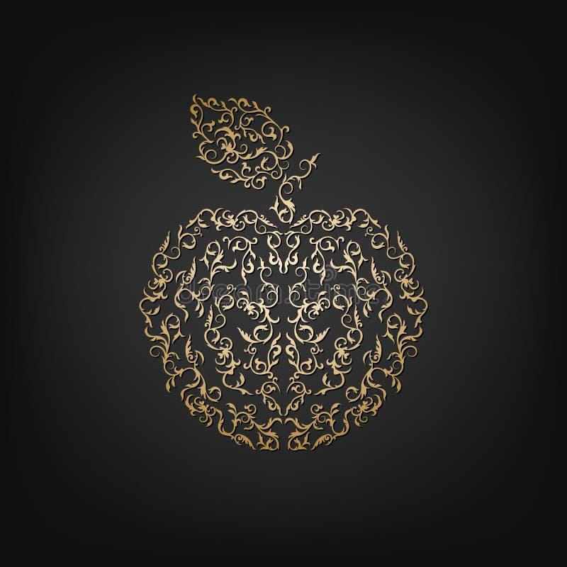 Maçã decorativa dourada do vetor ilustração royalty free