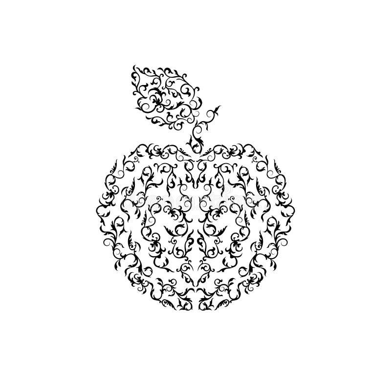 Maçã decorativa monocromática do vetor ilustração royalty free