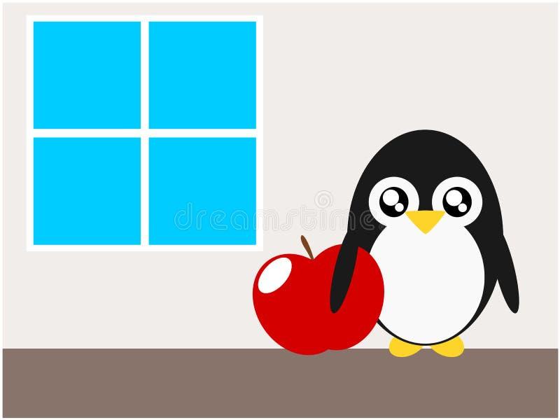 Maçã do pinguim dos desenhos animados e ilustração dos indicadores ilustração royalty free