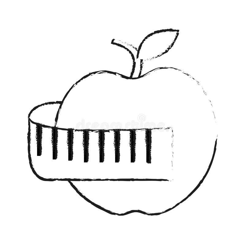 maçã e imagem de medição do ícone da perda de peso da fita ilustração stock