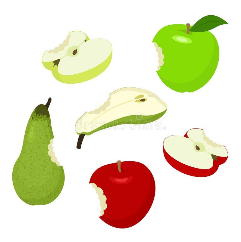 Maçã e pera de Bitteb Ajuste de vermelho, de verde, de meio, cortado, mordido, maçãs e pera Ilustração do vetor no fundo branco ilustração stock
