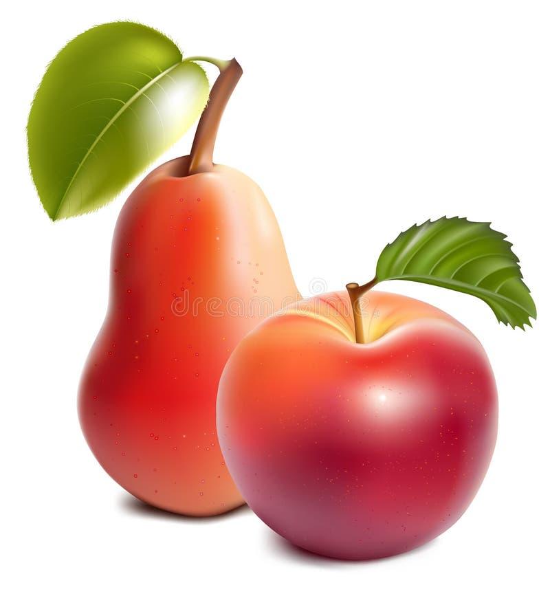 Maçã e pera vermelhas maduras. ilustração royalty free