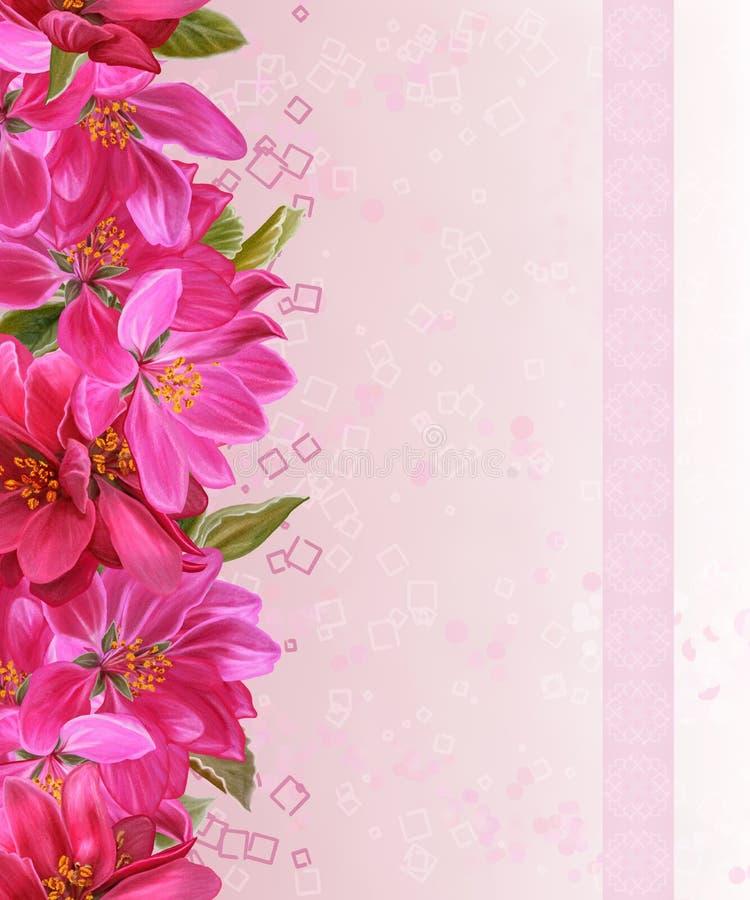 Maçã floral horizontal do paraíso da beira, folhas verdes, teste padrão, fotos de stock royalty free
