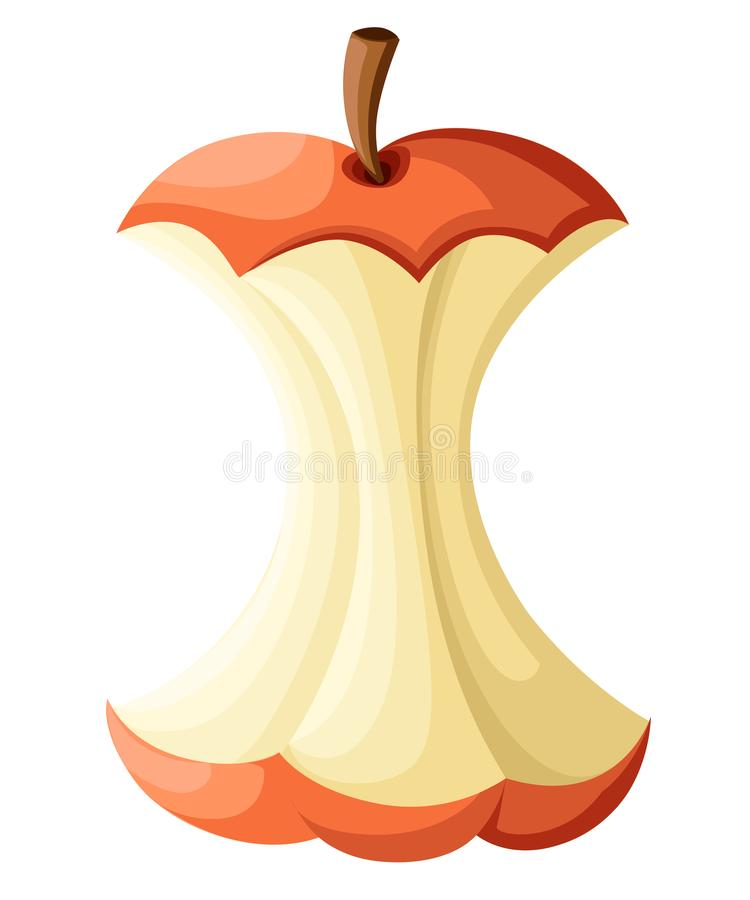 A maçã, inteiros mordidos, metade e fatia isoladas na página branca da site do fundo e no app móvel projetam ilustração royalty free