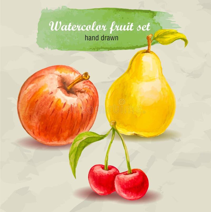Maçã, pera e cereja vermelhas Grupo tirado mão do fruto da aquarela do vetor ilustração do vetor